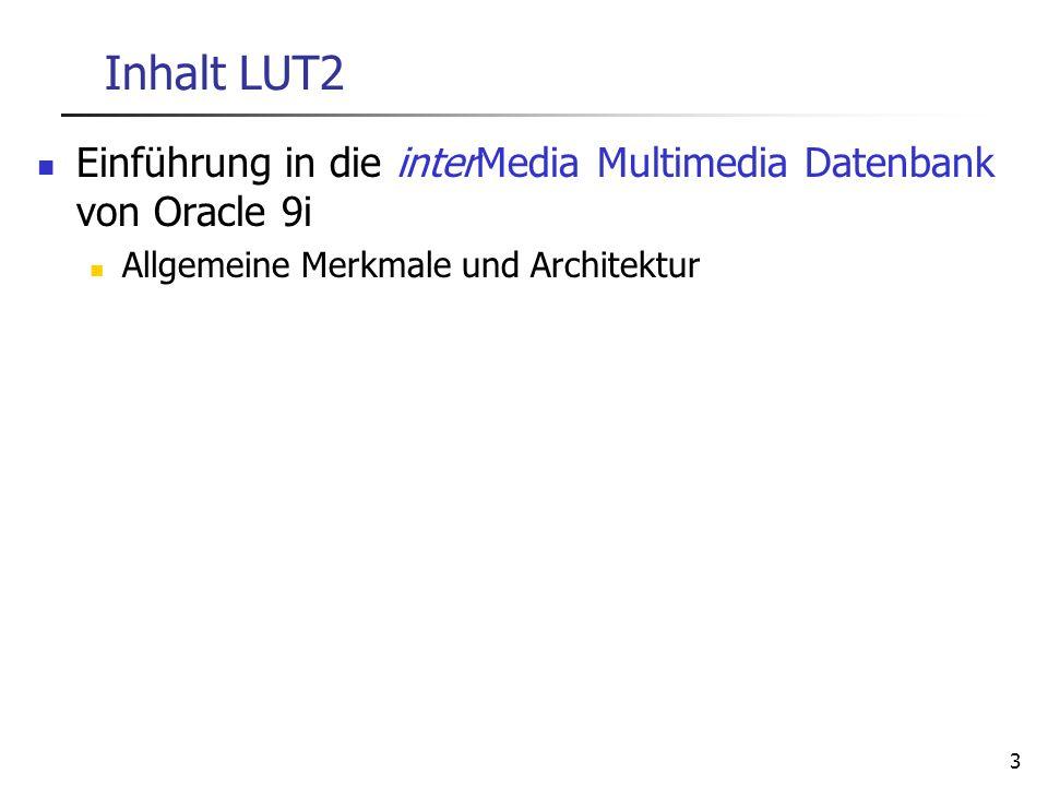 3 Inhalt LUT2 Einführung in die interMedia Multimedia Datenbank von Oracle 9i Allgemeine Merkmale und Architektur
