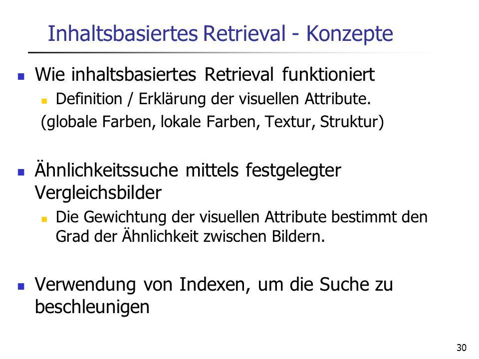 30 Inhaltsbasiertes Retrieval - Konzepte Wie inhaltsbasiertes Retrieval funktioniert Definition / Erklärung der visuellen Attribute. (globale Farben,