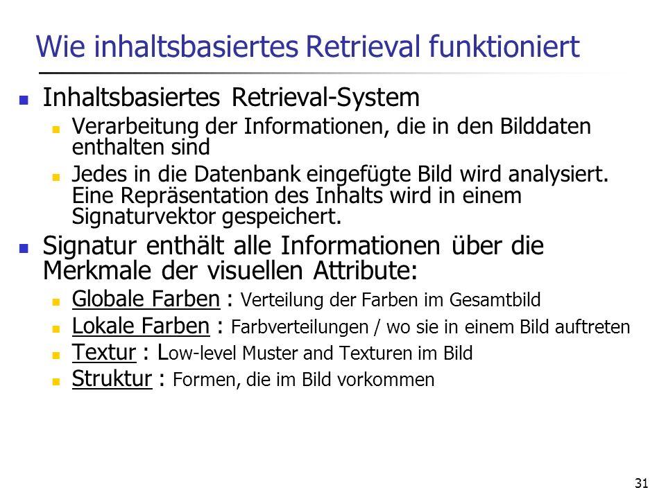 31 Wie inhaltsbasiertes Retrieval funktioniert Inhaltsbasiertes Retrieval-System Verarbeitung der Informationen, die in den Bilddaten enthalten sind J