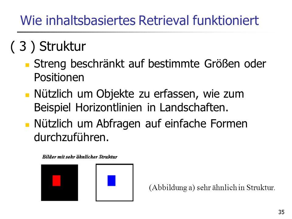 35 Wie inhaltsbasiertes Retrieval funktioniert ( 3 ) Struktur Streng beschränkt auf bestimmte Größen oder Positionen Nützlich um Objekte zu erfassen,