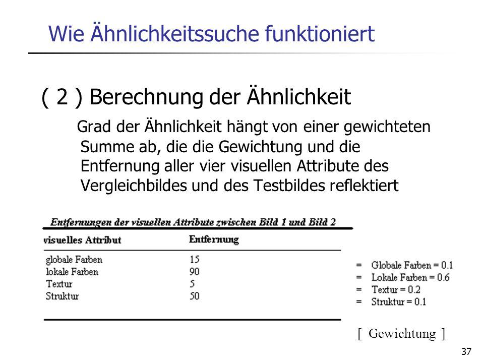 37 Wie Ähnlichkeitssuche funktioniert ( 2 ) Berechnung der Ähnlichkeit Grad der Ähnlichkeit hängt von einer gewichteten Summe ab, die die Gewichtung u
