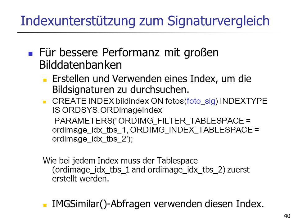 40 Indexunterstützung zum Signaturvergleich Für bessere Performanz mit großen Bilddatenbanken Erstellen und Verwenden eines Index, um die Bildsignatur