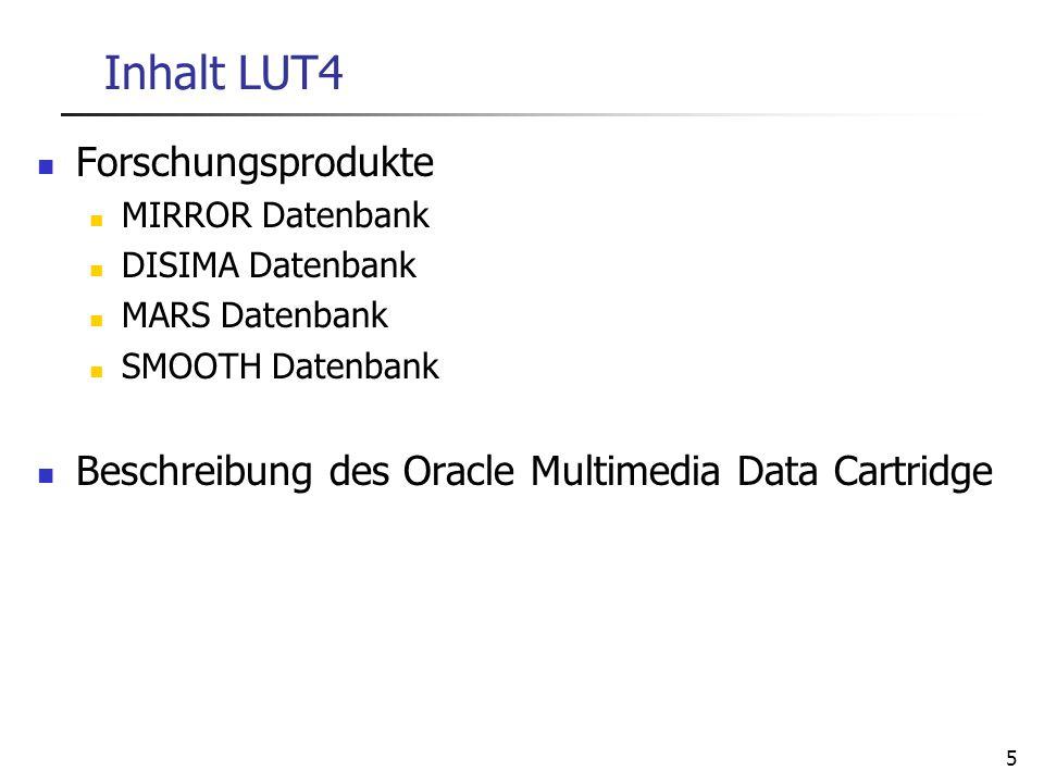 5 Inhalt LUT4 Forschungsprodukte MIRROR Datenbank DISIMA Datenbank MARS Datenbank SMOOTH Datenbank Beschreibung des Oracle Multimedia Data Cartridge