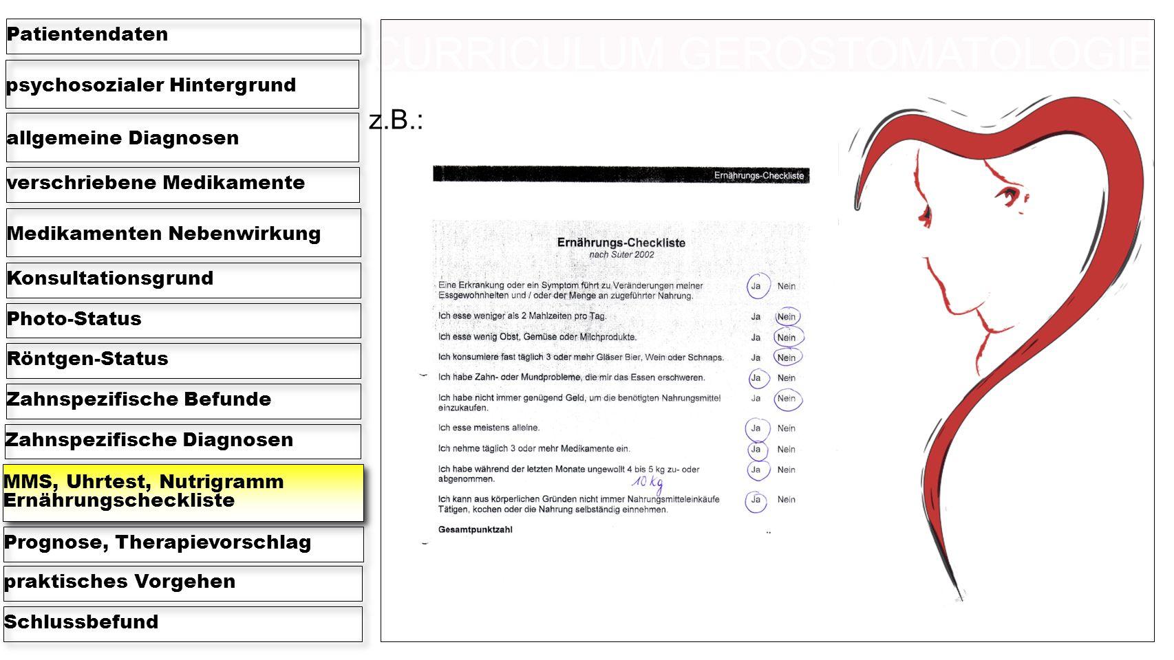 psychosozialer Hintergrund Patientendaten allgemeine Diagnosen verschriebene Medikamente Medikamenten Nebenwirkung KonsultationsgrundPhoto-StatusRöntgen-StatusZahnspezifische BefundeZahnspezifische Diagnosen MMS, Uhrtest, Nutrigramm Ernährungscheckliste Prognose, Therapievorschlagpraktisches VorgehenSchlussbefund z.B.: CURRICULUM GEROSTOMATOLOGIE