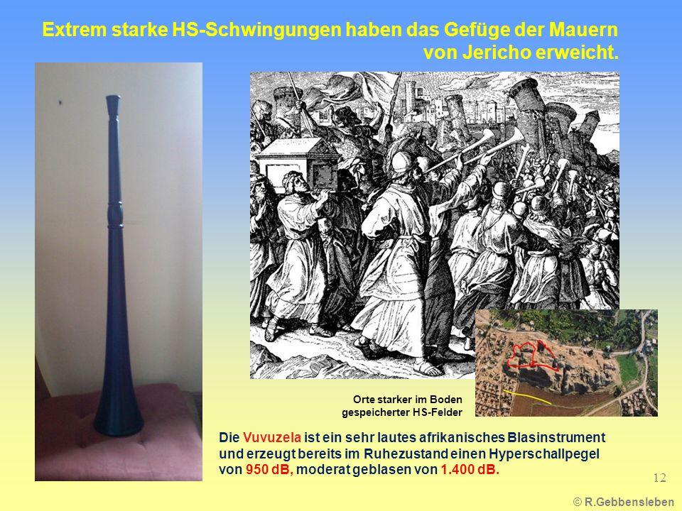 © R.Gebbensleben 12 Extrem starke HS-Schwingungen haben das Gefüge der Mauern von Jericho erweicht. Die Vuvuzela ist ein sehr lautes afrikanisches Bla