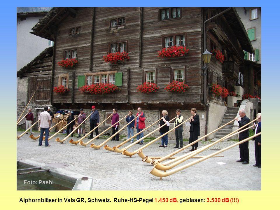 Foto: Paebi Alphornbläser in Vals GR, Schweiz. Ruhe-HS-Pegel 1.450 dB, geblasen: 3.500 dB (!!!)