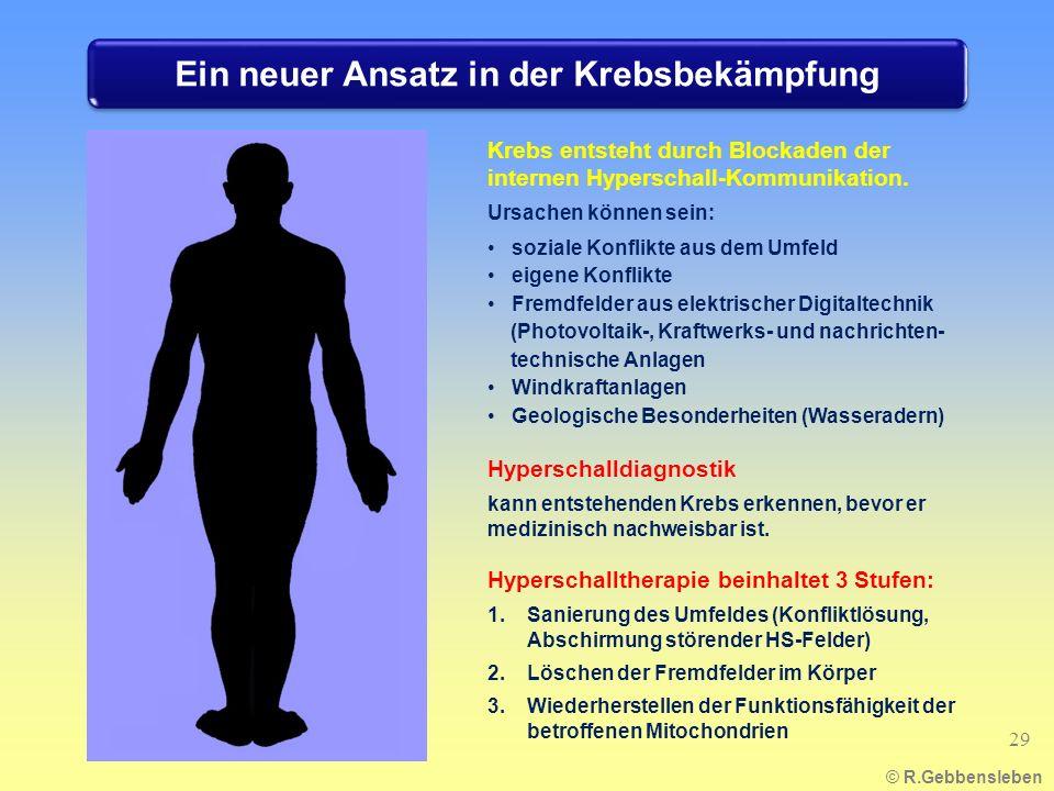 © R.Gebbensleben 29 Ein neuer Ansatz in der Krebsbekämpfung Krebs entsteht durch Blockaden der internen Hyperschall-Kommunikation. Ursachen können sei