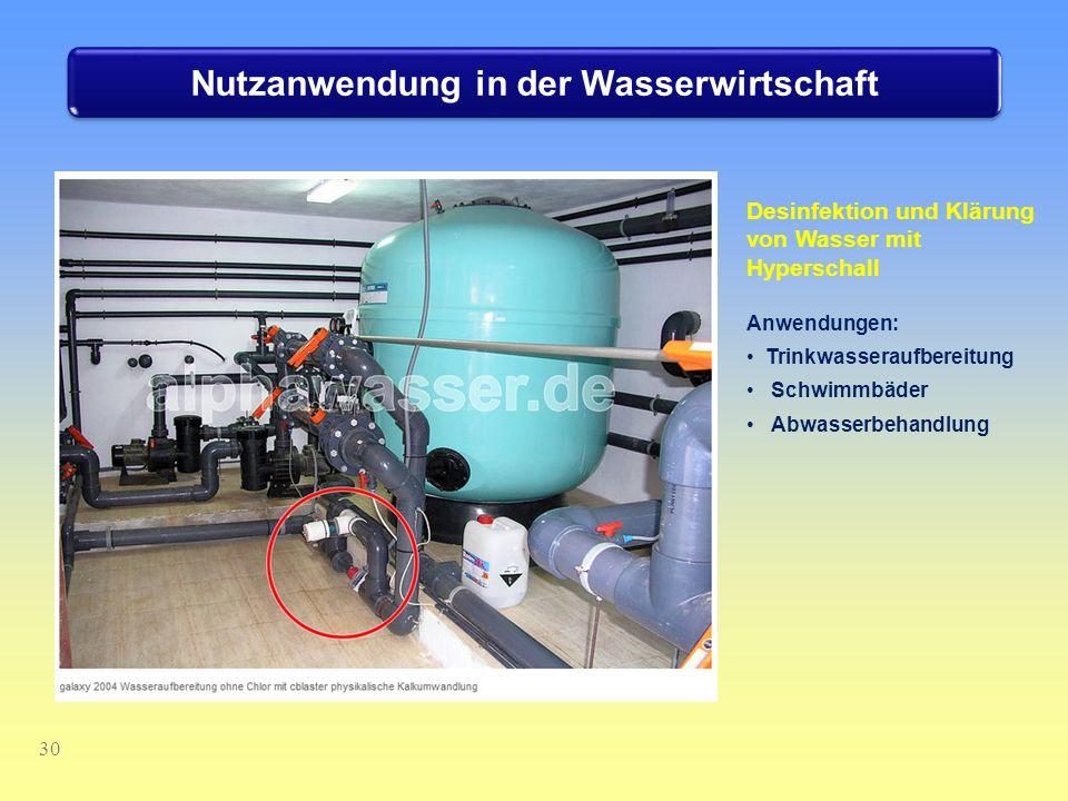 30 Nutzanwendung in der Wasserwirtschaft Desinfektion und Klärung von Wasser mit Hyperschall Anwendungen: Trinkwasseraufbereitung Schwimmbäder Abwasse