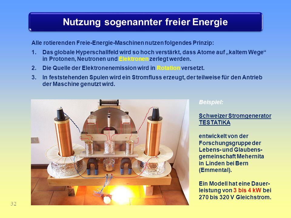 Nutzung sogenannter freier Energie 32 Alle rotierenden Freie-Energie-Maschinen nutzen folgendes Prinzip: 1.Das globale Hyperschallfeld wird so hoch ve