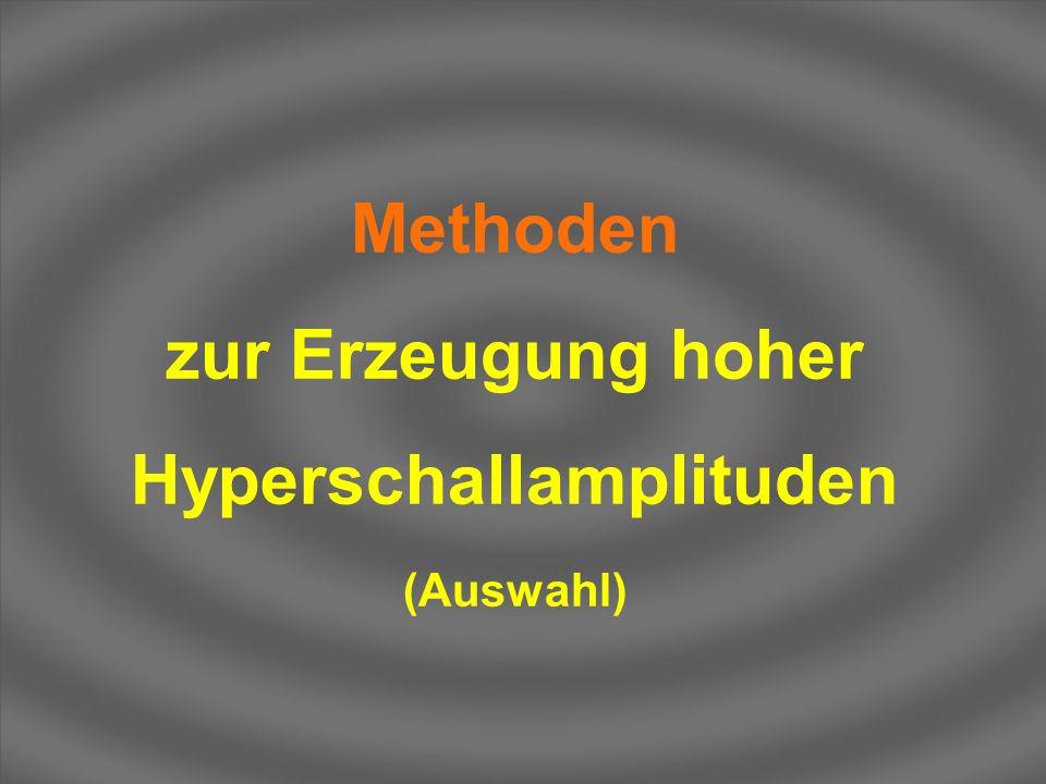 Methoden zur Erzeugung hoher Hyperschallamplituden (Auswahl)
