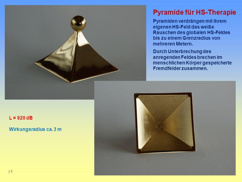 35 Pyramide für HS-Therapie Pyramiden verdrängen mit ihrem eigenen HS-Feld das weiße Rauschen des globalen HS-Feldes bis zu einem Grenzradius von mehr