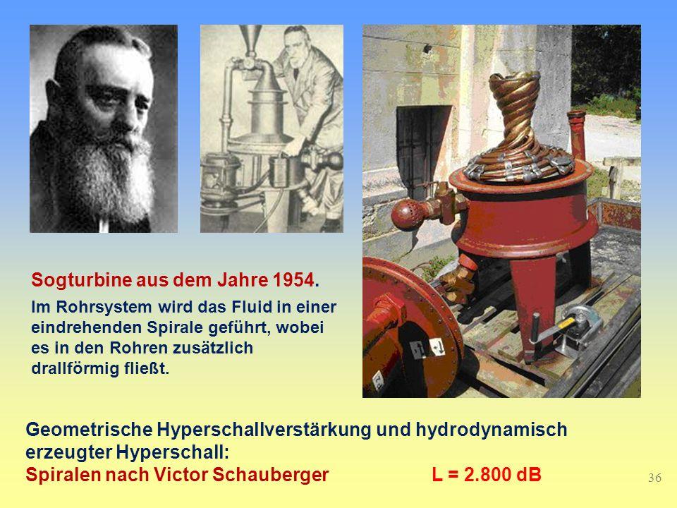 36 Geometrische Hyperschallverstärkung und hydrodynamisch erzeugter Hyperschall: Spiralen nach Victor SchaubergerL = 2.800 dB Sogturbine aus dem Jahre