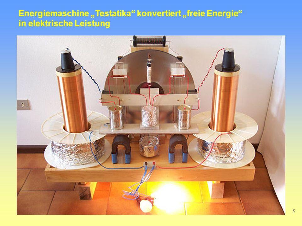 5 Energiemaschine Testatika konvertiert freie Energie in elektrische Leistung