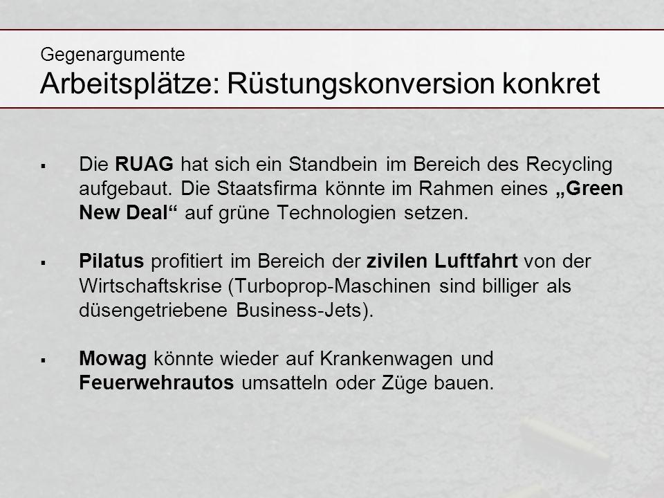 Gegenargumente Arbeitsplätze: Rüstungskonversion konkret Die RUAG hat sich ein Standbein im Bereich des Recycling aufgebaut. Die Staatsfirma könnte im