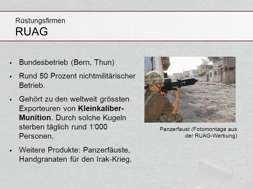 Rüstungsfirmen RUAG Bundesbetrieb (Bern, Thun) Rund 50 Prozent nichtmilitärischer Betrieb. Gehört zu den weltweit grössten Exporteuren von Kleinkalibe