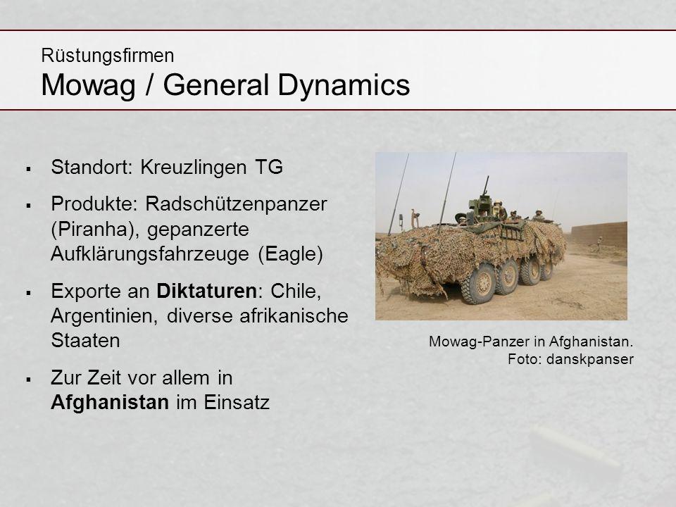 Rüstungsfirmen Mowag / General Dynamics Standort: Kreuzlingen TG Produkte: Radschützenpanzer (Piranha), gepanzerte Aufklärungsfahrzeuge (Eagle) Export
