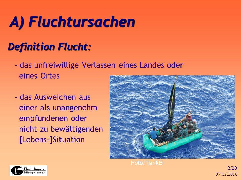 07.12.2010 3/20 Definition Flucht: - das unfreiwillige Verlassen eines Landes oder eines Ortes - das Ausweichen aus einer als unangenehm empfundenen o