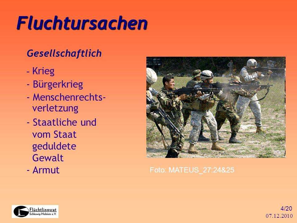 07.12.2010 4/20 Fluchtursachen Gesellschaftlich - Krieg - Bürgerkrieg - Menschenrechts- verletzung - Staatliche und vom Staat geduldete Gewalt - Armut