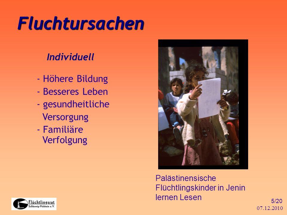 07.12.2010 5/20 Fluchtursachen Individuell - Höhere Bildung - Besseres Leben - gesundheitliche Versorgung - Familiäre Verfolgung Palästinensische Flüc