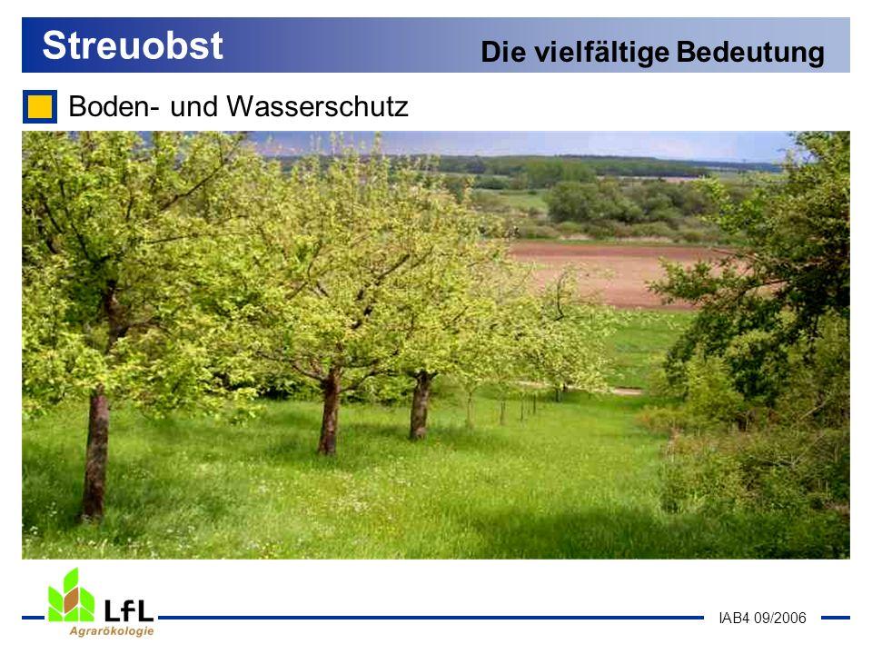 IAB4 09/2006 Boden- und Wasserschutz Streuobst Die vielfältige Bedeutung