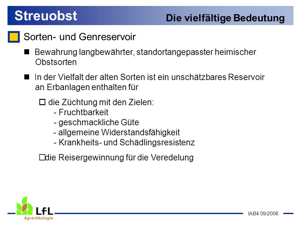 IAB4 09/2006 Sorten- und Genreservoir Streuobst Die vielfältige Bedeutung Bewahrung langbewährter, standortangepasster heimischer Obstsorten In der Vi
