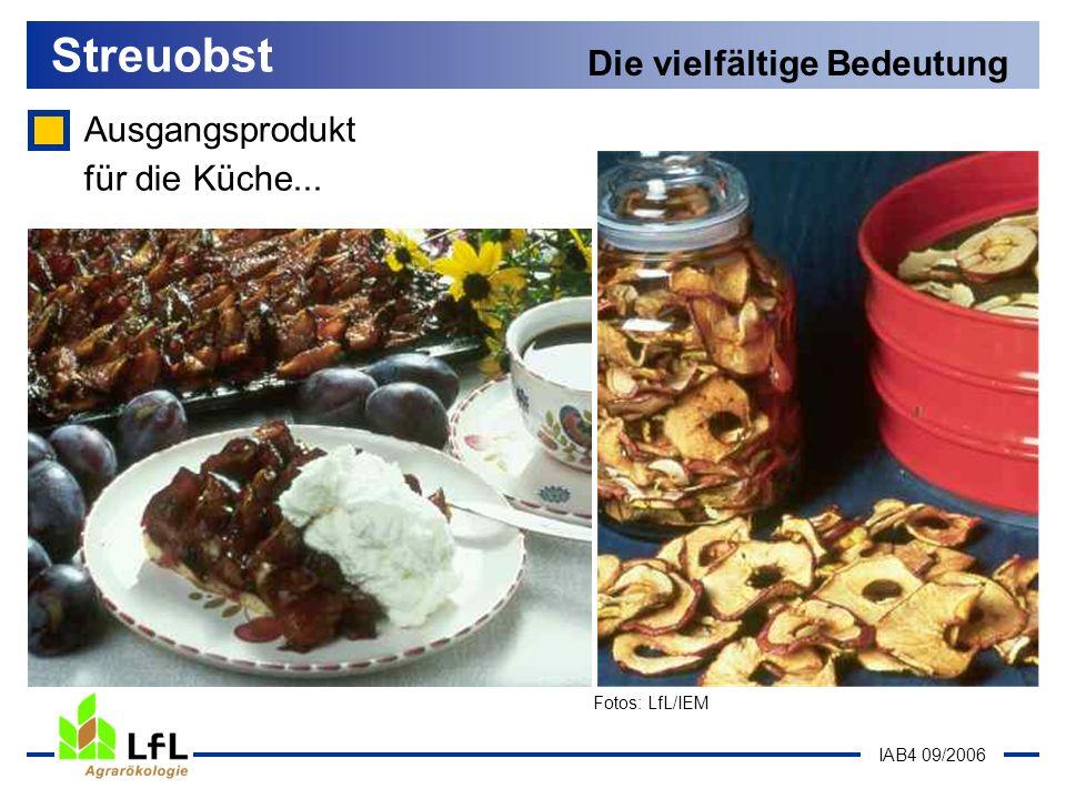 IAB4 09/2006 Streuobst Die vielfältige Bedeutung Ausgangsprodukt für die Küche... Fotos: LfL/IEM