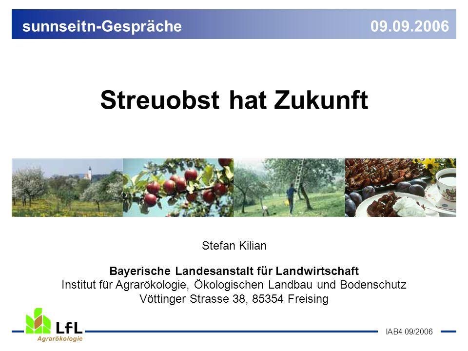 IAB4 09/2006 Streuobst hat Zukunft Stefan Kilian Bayerische Landesanstalt für Landwirtschaft Institut für Agrarökologie, Ökologischen Landbau und Bode