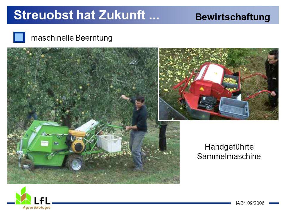 IAB4 09/2006 Streuobst hat Zukunft... Bewirtschaftung Handgeführte Sammelmaschine maschinelle Beerntung