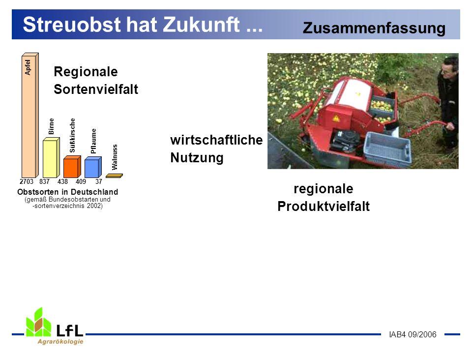 IAB4 09/2006 Streuobst hat Zukunft... Zusammenfassung Apfel Birne Süßkirsche Pflaume Walnuss 2703 837 438 409 37 Obstsorten in Deutschland (gemäß Bund