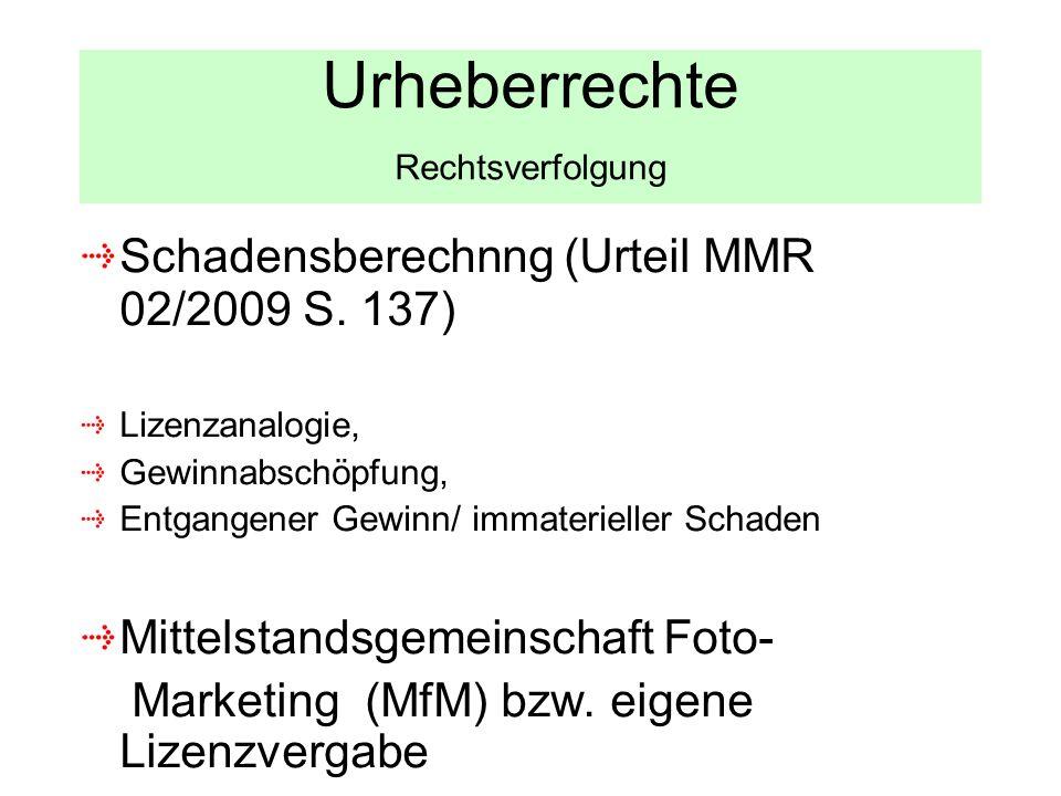 Urheberrechte Rechtsverfolgung Schadensberechnng (Urteil MMR 02/2009 S. 137) Lizenzanalogie, Gewinnabschöpfung, Entgangener Gewinn/ immaterieller Scha