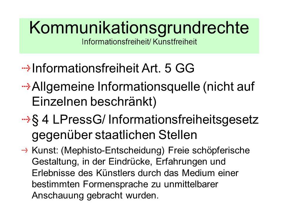 Kommunikationsgrundrechte Informationsfreiheit/ Kunstfreiheit Informationsfreiheit Art. 5 GG Allgemeine Informationsquelle (nicht auf Einzelnen beschr