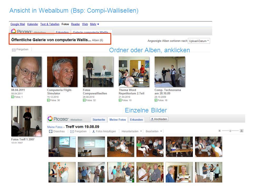 Einzelne Bilder Ansicht in Webalbum (Bsp: Compi-Wallisellen) Ordner oder Alben, anklicken