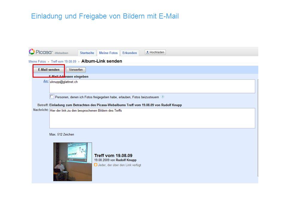 Einladung und Freigabe von Bildern mit E-Mail