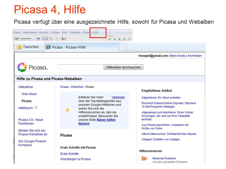 Picasa 4, Hilfe Picasa verfügt über eine ausgezeichnete Hilfe, sowohl für Picasa und Webalben