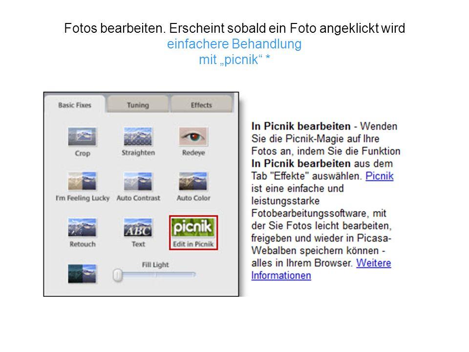 Fotobearbeitung mit Picnik (Kurzprogramm), Teil vom Gesamtprogramm