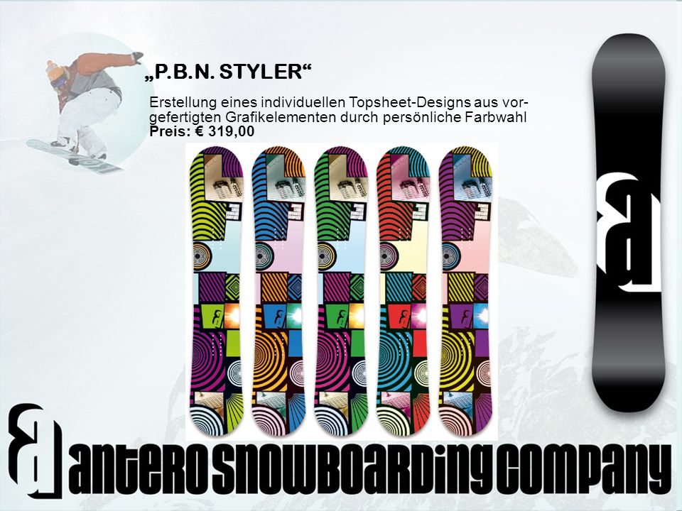 P.B.N. STYLER Erstellung eines individuellen Topsheet-Designs aus vor- gefertigten Grafikelementen durch persönliche Farbwahl Preis: 319,00