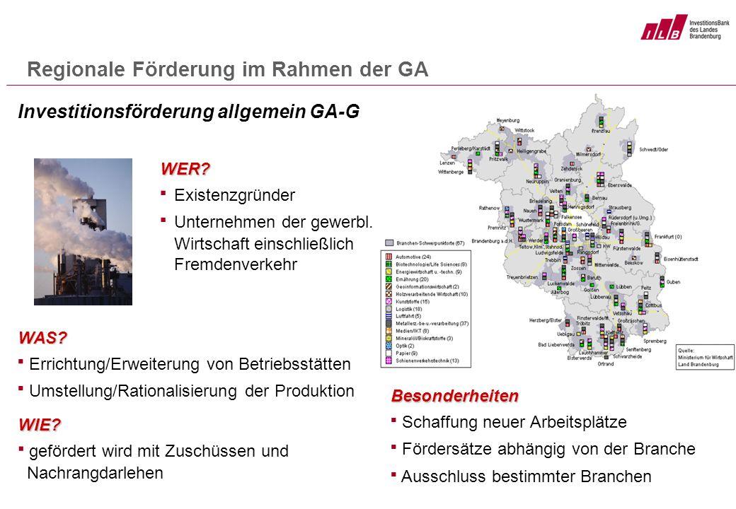 Regionale Förderung im Rahmen der GA Besonderheiten Schaffung neuer Arbeitsplätze Fördersätze abhängig von der Branche Ausschluss bestimmter Branchen