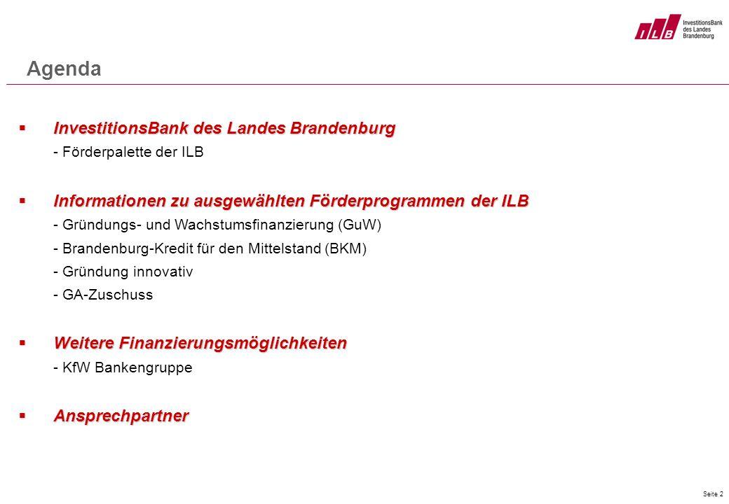 Seite 2 Agenda InvestitionsBank des Landes Brandenburg InvestitionsBank des Landes Brandenburg - Förderpalette der ILB Informationen zu ausgewählten F