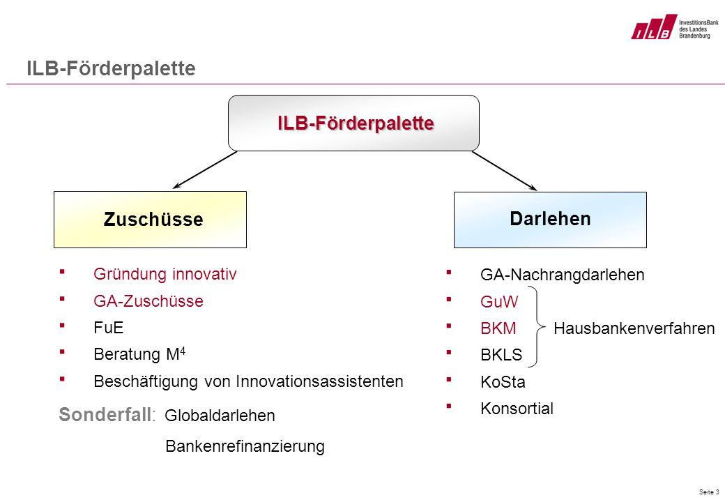 Seite 3 ILB-Förderpalette ILB-Förderpalette Zuschüsse Gründung innovativ GA-Zuschüsse FuE Beratung M 4 Beschäftigung von Innovationsassistenten Sonder