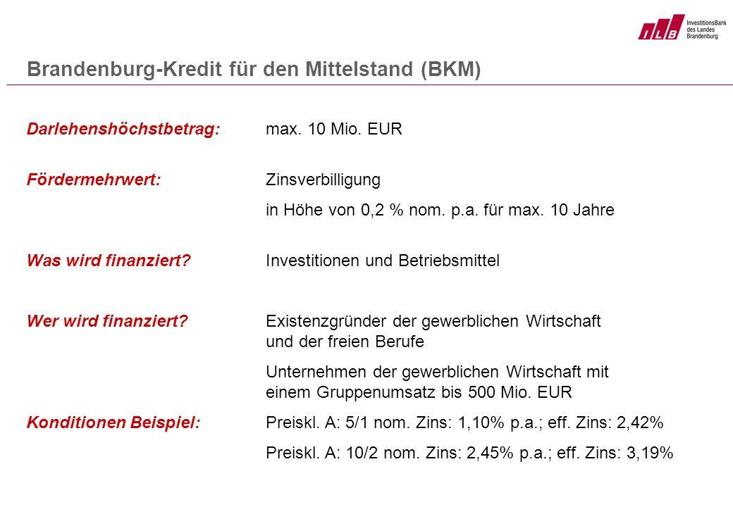 Darlehenshöchstbetrag: max. 10 Mio. EUR Fördermehrwert: Zinsverbilligung in Höhe von 0,2 % nom. p.a. für max. 10 Jahre Was wird finanziert?Investition