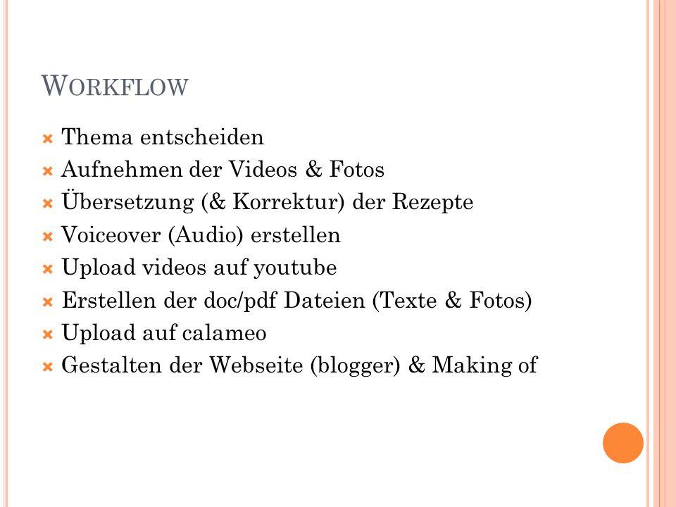 W ORKFLOW Thema entscheiden Aufnehmen der Videos & Fotos Übersetzung (& Korrektur) der Rezepte Voiceover (Audio) erstellen Upload videos auf youtube E