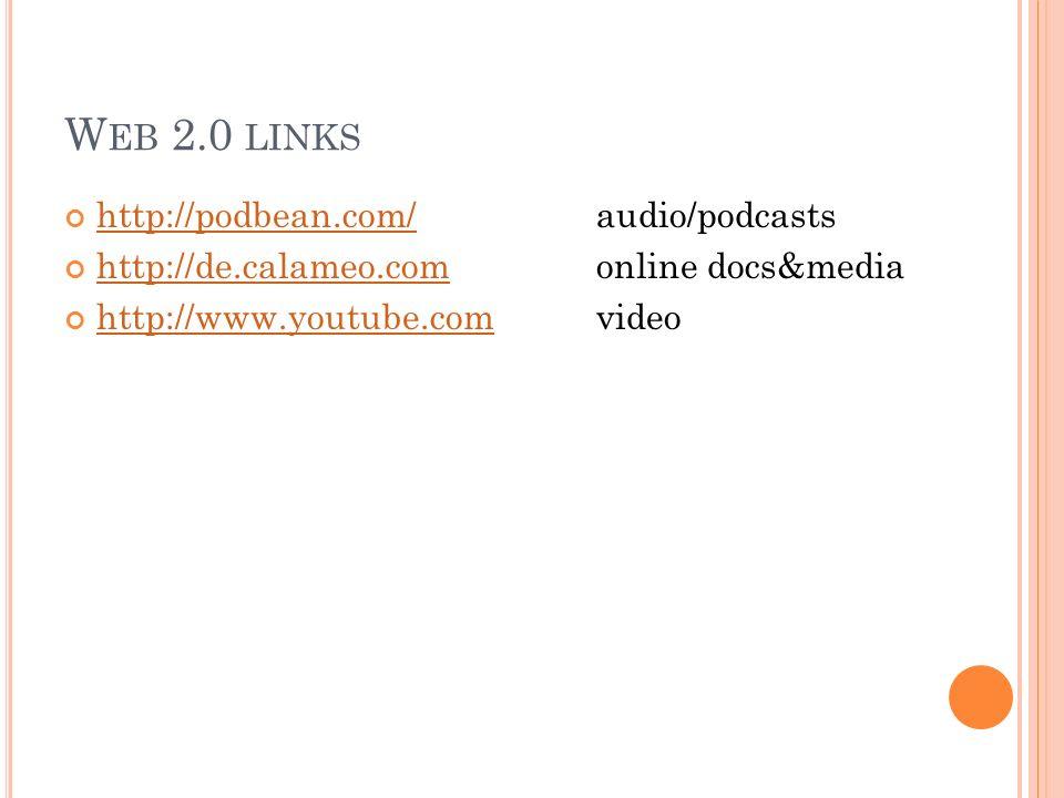 W EB 2.0 LINKS http://podbean.com/audio/podcasts http://podbean.com/ http://de.calameo.comonline docs&media http://de.calameo.com http://www.youtube.c