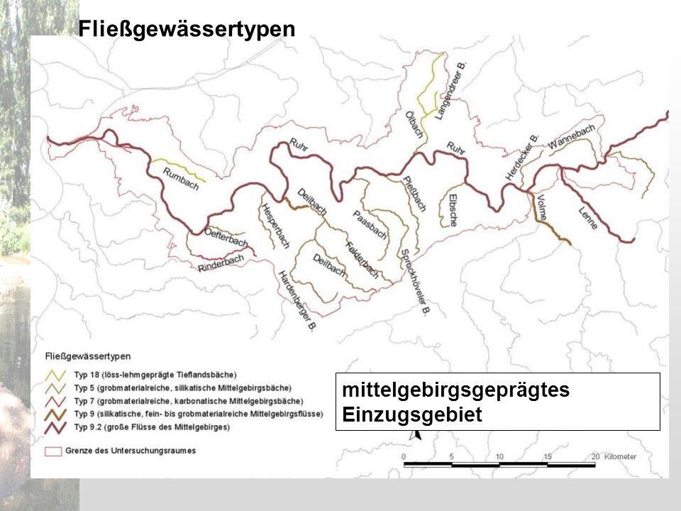 mittelgebirgsgeprägtes Einzugsgebiet Fließgewässertypen