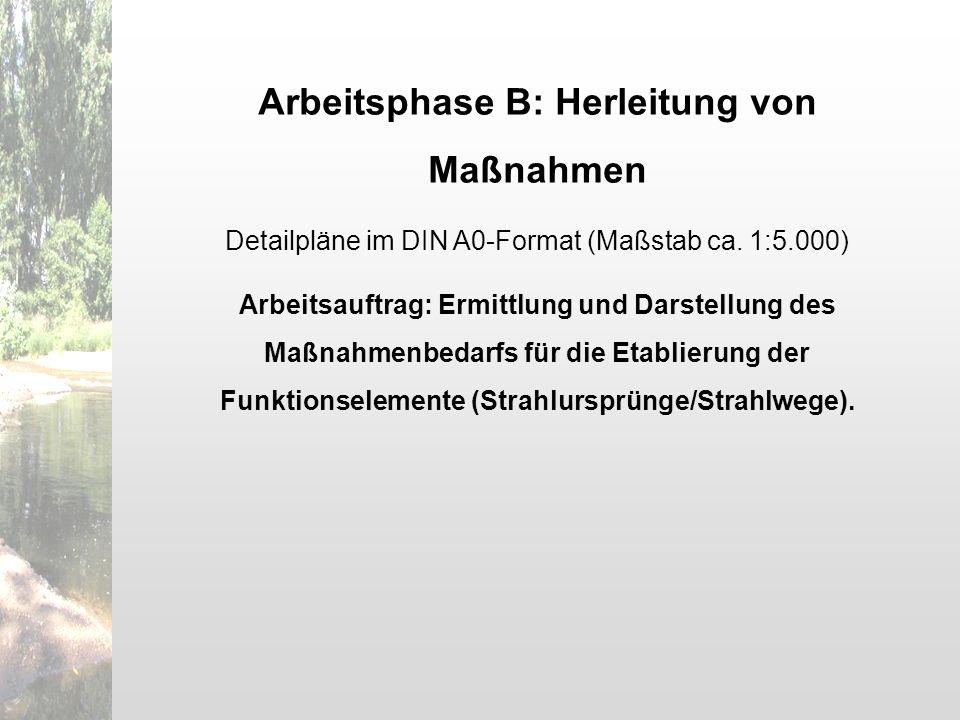 Arbeitsphase B: Herleitung von Maßnahmen Detailpläne im DIN A0-Format (Maßstab ca. 1:5.000) Arbeitsauftrag: Ermittlung und Darstellung des Maßnahmenbe