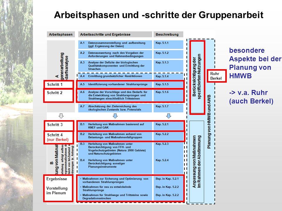 Schritt 1Schritt 2Schritt 3Schritt 4 (nur Berkel) Ergebnisse Vorstellung im Plenum Ruhr Berkel besondere Aspekte bei der Planung von HMWB -> v.a. Ruhr