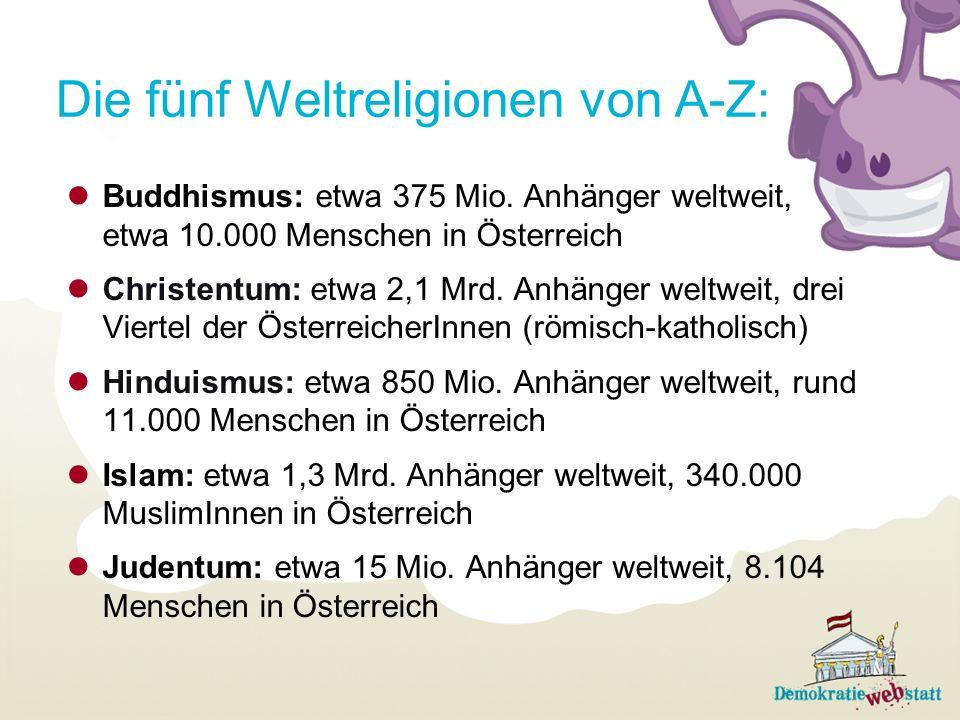 Die fünf Weltreligionen von A-Z: Buddhismus: etwa 375 Mio. Anhänger weltweit, etwa 10.000 Menschen in Österreich Christentum: etwa 2,1 Mrd. Anhänger w
