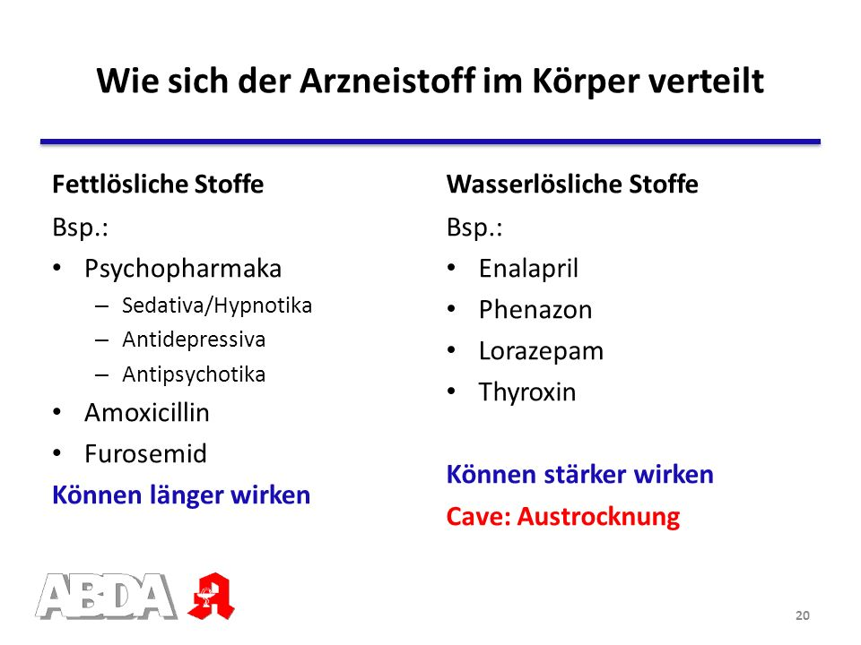 Fettlösliche Stoffe Bsp.: Psychopharmaka – Sedativa/Hypnotika – Antidepressiva – Antipsychotika Amoxicillin Furosemid Können länger wirken Wasserlösli
