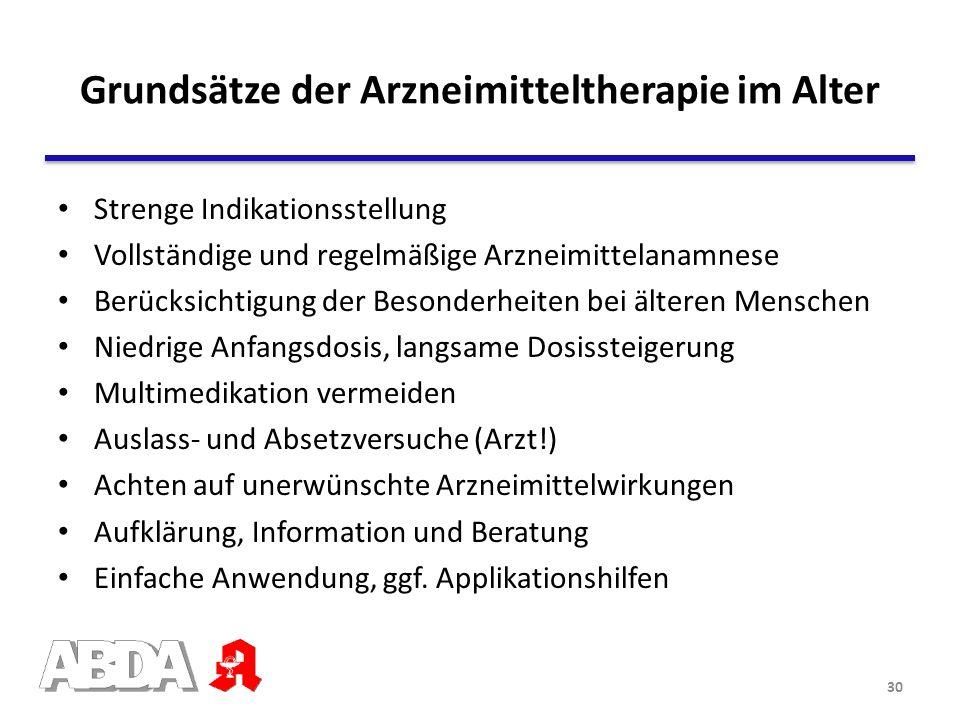 Grundsätze der Arzneimitteltherapie im Alter Strenge Indikationsstellung Vollständige und regelmäßige Arzneimittelanamnese Berücksichtigung der Besond