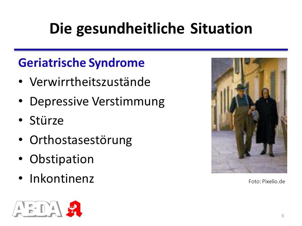 Geriatrische Syndrome Verwirrtheitszustände Depressive Verstimmung Stürze Orthostasestörung Obstipation Inkontinenz Die gesundheitliche Situation Foto