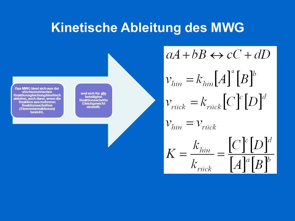 Kinetische Ableitung des MWG Das MWG lässt sich aus der stöchiometrischen Reaktionsgleichung kinetisch ableiten, auch dann, wenn die Reaktion aus mehr